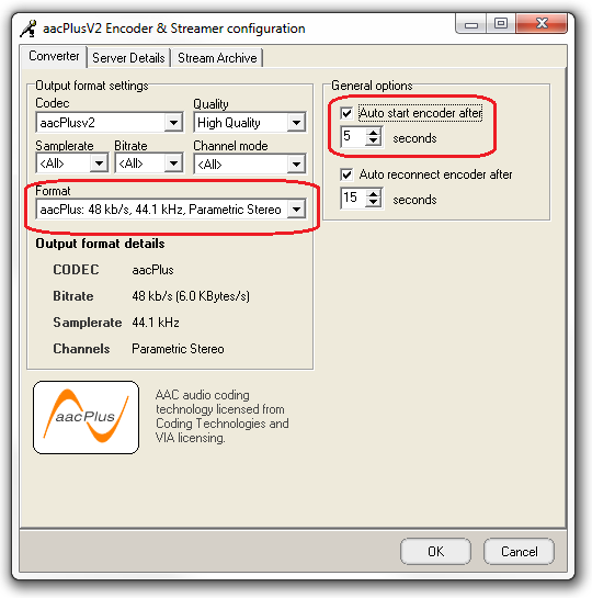 AAC Encoder Format Settings