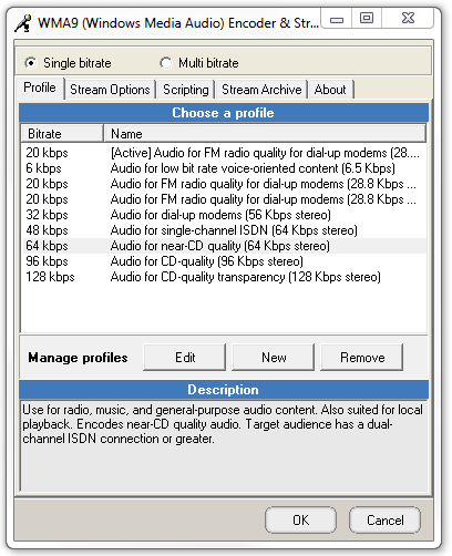 WMA Encoder Profile Settings