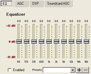 Equalizer Window seen in SAM Broadcaster