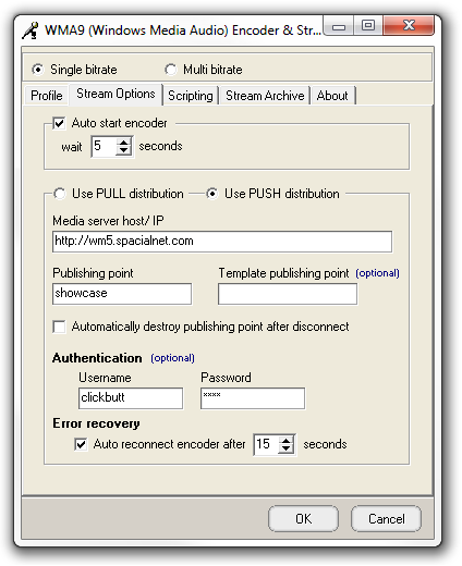 WMA Encoder Push Settings