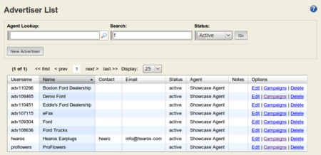 StreamAds Advertisers list - Admin Agent view