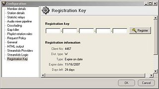 Registration Key Window from SAM Broadcaster v4