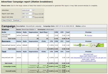 Advertiser Campaigns/Station Report
