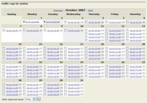 StreamAds Traffic Log Calendar